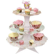 decorative cardboard 3 tiered cake stand for wedding cakes