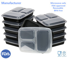 Meal Prep Food Storage FDA Approved Plastic Lunch Box bento container 3-Compartment Microwave safe