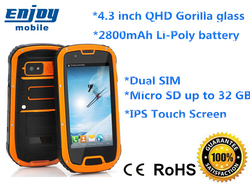"""4.3 inch screen """"rugged android phone with nfc, android phone with usb otg, android phone with g-sensor digital compass"""