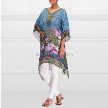 Wholesale printed floral patterns tunics dresses blue kaftan style pakistani designer long kurtis 2015