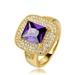Hot Selling 18K Gold Plated Micro Pave Amethyst Men's Ring