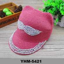 New Fashion kids Moustache summer sun beach hat with crystal