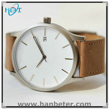 Wome and mens 316L stainless steel watch genuine leather strap and date available