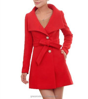 New Style Warm Clothing Slim Fit Cheap Price Women Woolen Coat