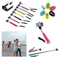 Bluetooth Shutter Selfie Extendable Handheld Stick Monopod with Phone Clip For Android & IOS Phones