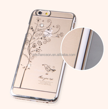 Bling Luxury Reshinestone Electro-plated Transparent Ultra-thin Hard PC mobile phone case for iphone 6 6plus CO-PC-3008