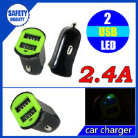 Shenzhen wholesale 12v/24v 2.4A dual usb car charger adapter