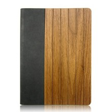 Hot Selling ultra thin leather Wood Wooden Case for iPad, for iPad Bamboo Wooden Case, leather flip case for ipad
