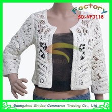 sexy knitted hollow girls Long sleeve crochet embroidery lace top