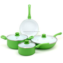 top quality aluminium white ceramic pot cookware with glass lid