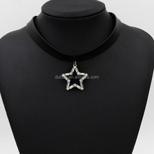 2015 New Design Star Charm Black Ribbon Necklace,Stretch Choker Band Collar Necklace