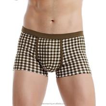 Apparel Boxer Man China Export Gay Men Underwear Grid Comforetable Sexy Boys Modeling Underwear