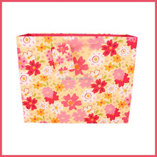 2015 hot sale 4C printing flowers pink ribbon handle valentines day decoration paper bag