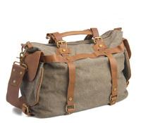 Europe canvas casual blend cow leather travel bag shoulder bag