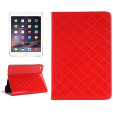 2015 New Hot Grid Texture Leather for iPad Mini 4 Leather Case with Card Slots