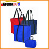 Foldable tote bag with full length shoulder handle