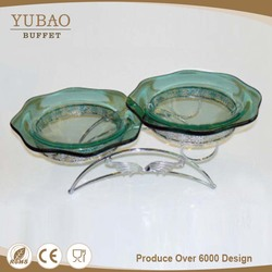 Double Food Warmer Bowl, Decorative Glass Balls Bowls For Centerpieces, Disposable Divided Bowl