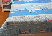 chlidren blue printed cotton quilts /bedspread set