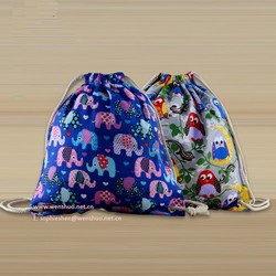 2015 Printing Canvas Backpack Drawstring Bags