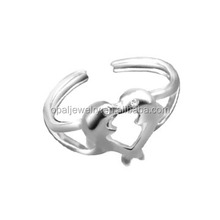 Wholsale Heart Shaped Two Dolphin Lovers Rhodium Plated 925 Sterling Silver Rings