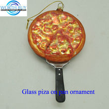 Piza on pan glass ornament unique glass christmas ornaments from Shenzhen supplier