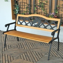 cast iron metal frame cheap design wooden color long outdoor bench for parks