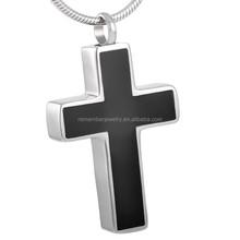 SRP8355 China Alibaba Black Enamel Jesus Cross Cremation Jewelry Christian Items Cross Pendant Stainless Steel Pendant
