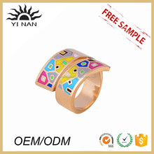 Factory Wholesale Fashion Curved Opening Enamel Ring Cheap Couple Rings