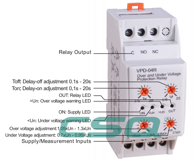 Vpd 04r single phase three phase under and over voltage for 3 phase motor protection
