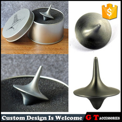 Custom logo metal spinning top totally from movie props, tin box packing spinning top toy with plastic dice