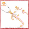 Letter F with crystal china factory 316l stainless steel jewelry