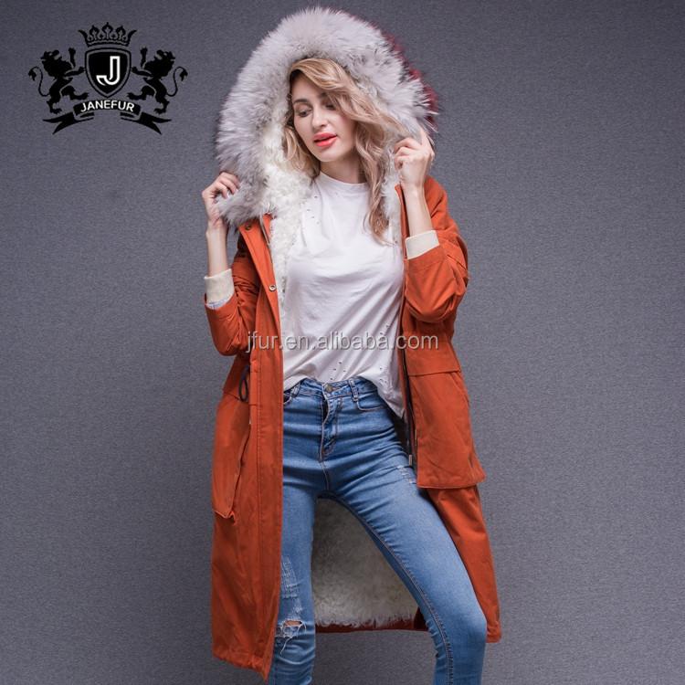 Estilo russo Casaco de Inverno Elegante Pele De Cordeiro Forrado Parka de Pele De Guaxinim Com Capuz de Pele Das Senhoras