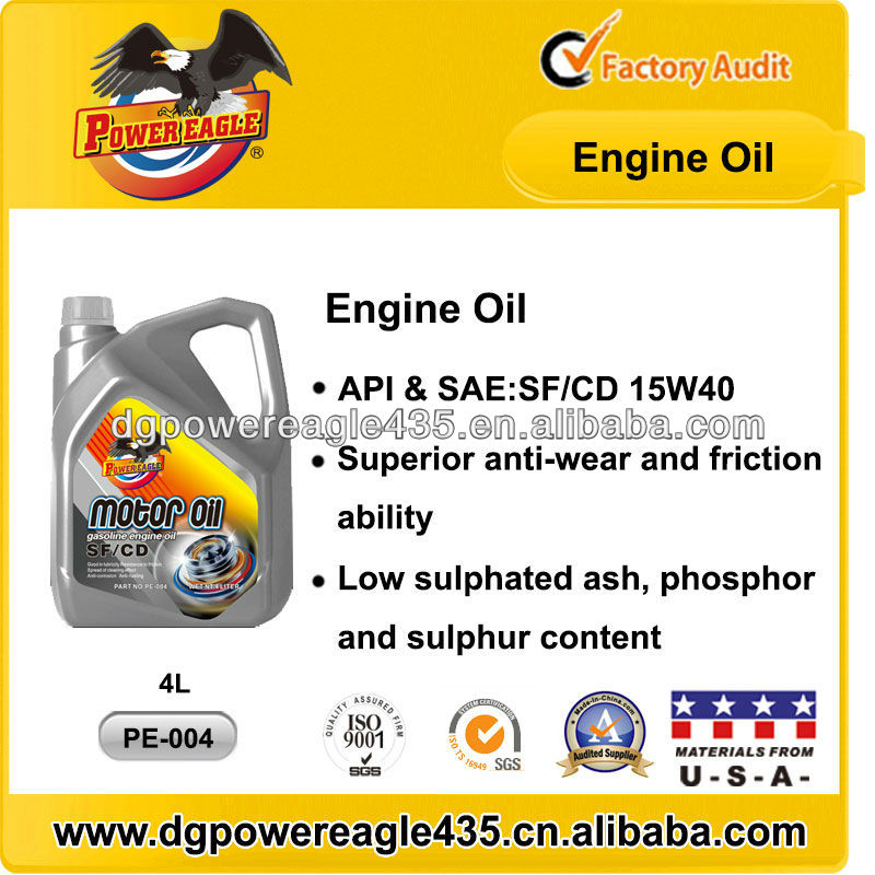 Power eagle api sf cd motor oil for car or diesel for Api motor oil guide