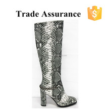 snake skin high heel knee boot