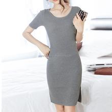 Fashion slim office short sleeve sexy slit hem lady sweater dress with high quality
