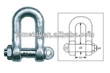 rigging hardware galvanized carbon steel European D shackle with round screw pin