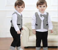 Hot sale gentleman bow tie long sleeve boys's suit, each set includes a t-shirt, a pant and a waistcoat