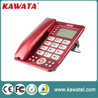 big button solid red corded caller id phone