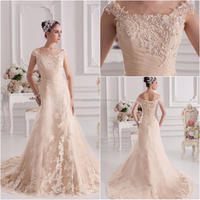 Real Picture Elegant champagne plus size wedding dress XYY07-315