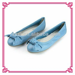 comfort cheap Hot sell sweet blue bow bealth PU sock women flat shoes