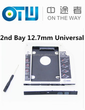 """Aluminum Universal SATA 3.0 2nd HDD Caddy 12.7mm for 2.5"""" SSD Case Hard Disk Drive Enclosure for Notebook CD DVD ROM Optical Bay"""