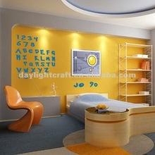 1671 Vinyl/PET living room decor alphabet & numbers wall sticker