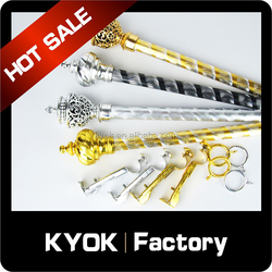 KYOK hot selling carved patter aluminum curtain rod, good quality plastic curtain rod finial curtain ring, iron curtain bracket
