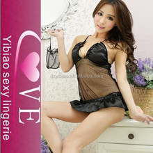 OEM and in stock hot sale transparent sexy black babydoll lingerie image types for ladies