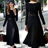 Women's Designer Round Neck Long Sleeve Maxi BodyconDress Empire Waist OEM Type Clothes Manufacturer Factory Supplier Guangzhou