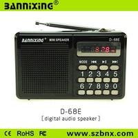 Hot new gadget D-68E TF card portable usb sd card mini speaker fm radio
