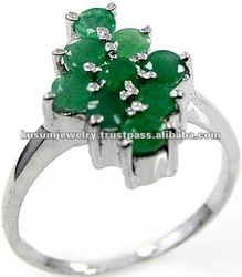 Genine Emerald & .925 Sterling Silver Ring Jewelry Wholesale Silver Jewelry