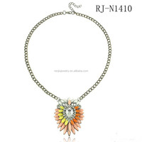 Rainbow Neon Crystal Necklace