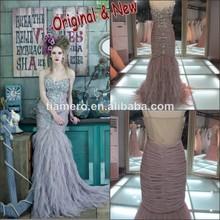 Novia de pescado sin respaldo de última moda vestido de fiesta formal de la muestra real china alibaba elegante vestido de noche