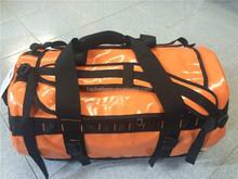 double-use tarpaulin duffel bag in orange outdoor sports gym travel bag